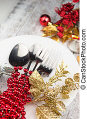 kerstmis vakantie, tafel te zetten