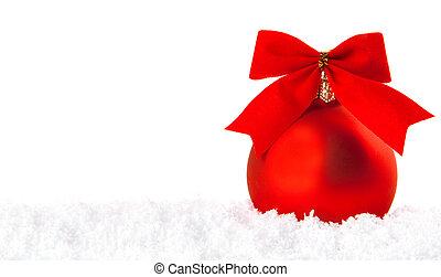 kerstmis vakantie, versiering, met, wite sneeuw, en, rode kom