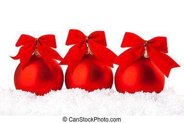 kerstmis vakantie, versiering, met, wite sneeuw, en, rood, kommen