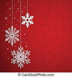kerstmis, vector, achtergrond, met, snowflakes
