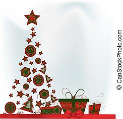 kerstmis, vector, kaart