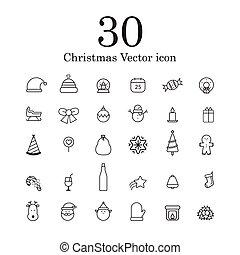 kerstmis, vector, lijn, pictogram, set