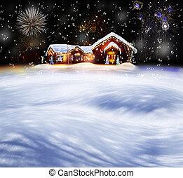 kerstmis, verfraaide, woning