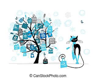 kerstmis, verkoop, boompje, mode, kat, met, winkeltas, voor, jouw, ontwerp