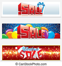kerstmis, verkoop, web, banieren