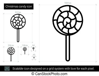kerstmis, versuikeren, lijn, icon.