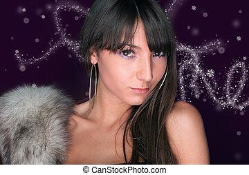 kerstmis, verticaal, van, een, vrouw
