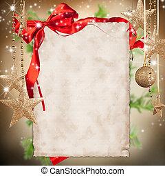 kerstmis viering, thema, met, leeg, papier, voor, tekst