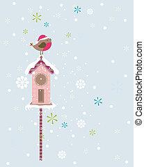 kerstmis, vogel, robin