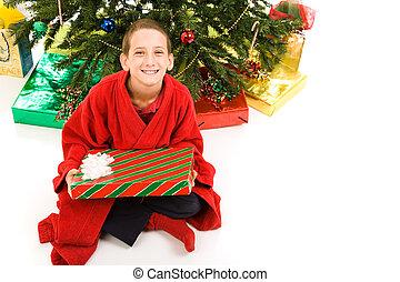kerstmis, vrijstaand, jongen