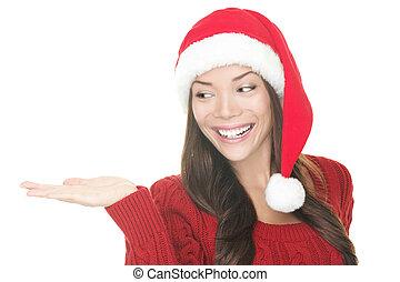 kerstmis, vrouw, het tonen, jouw, product