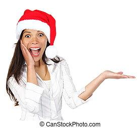 kerstmis, vrouw, het voorstellen, product