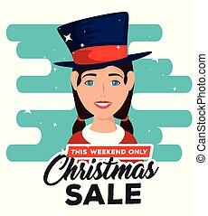 kerstmis, vrouw, karakter, verkoop, etiket
