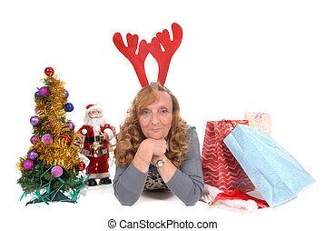 kerstmis, vrouw, kerstmis