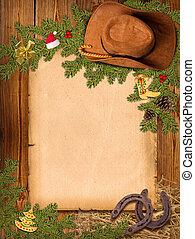 kerstmis, westelijk, achtergrond, met, cowboy hoed, en, oud, papier, voor, tekst