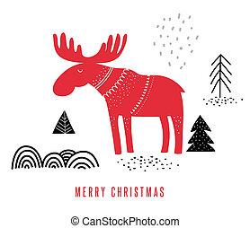 kerstmis, winter, illustratie, met, eland, hand, getrokken, in, scandinavische, stijl, begroetende kaart