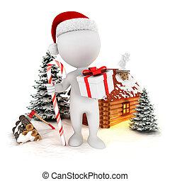 kerstmis, witte , 3d, scène, mensen