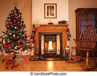 kerstmis, woonkamer