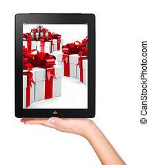 kerstmis, x-mas, online boodschapend doend, concept