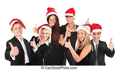 kerstmis, zakenlui, groep, met, ok, gebaar