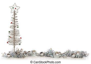 kerstmis, zilverachtig, grens