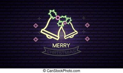 kerstmislicht, etiket, klokken, neon
