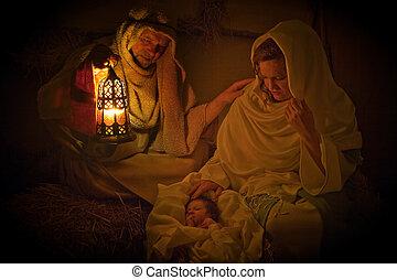 kerstmislicht, in, een, manger