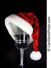 kerstmuts, op, microfoon