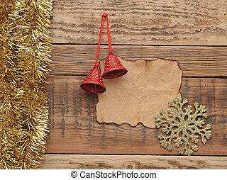 kerstversiering, met, leeg, oud, papier, op, de, houten muur