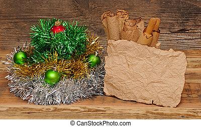 kerstversiering, met, leeg, ouderwetse , papier, op, wooden table
