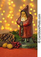 kerstversiering, met, santa claus, figurine
