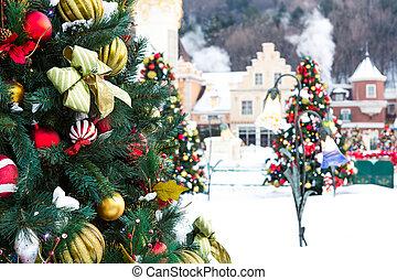 kerstversiering, met, sneeuw