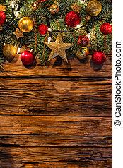 kerstversiering, met, spar, takken, op, van hout grondslagen