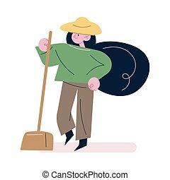 kertész, lapát, dolgozó, öltözék, kalap, álló, nő