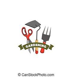 kertészkedés, gazdálkodás, munka, eszközök, bolt, vektor, ikon