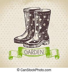 kertészkedés, skicc, tervezés, háttér., szüret, kéz, húzott