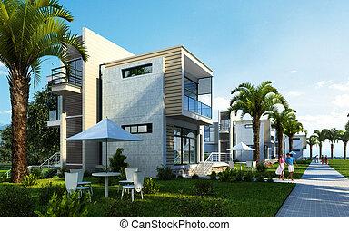 kert, épület, modern, külső, horgonykapák, fa.