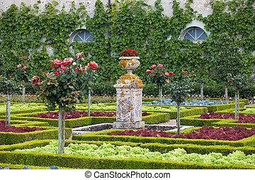 kert, és, csevej, ellen-, villandry, alatt, loire völgy,...