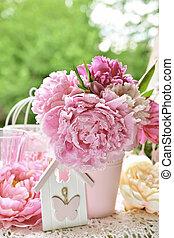kert, babarózsa, szín, hatás, váza, asztal, csokor
