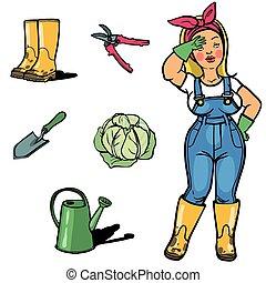kert, cartton, kertész, eszközök, furcsa