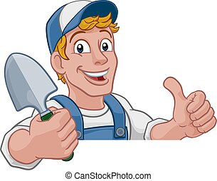 kert, kertész, ásó, ezermester, farmer, karikatúra