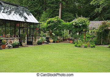 kert, zöld épület