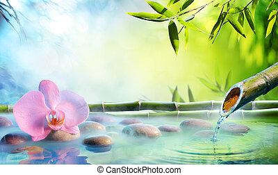 kert, zen, -, japán, hintáztatni, szökőkút, bambusz, orhidea