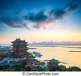 kerti ház, szürkület, tengwang, nanchang, gyönyörű
