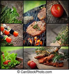 kerti-parti, grillsütő, kollázs