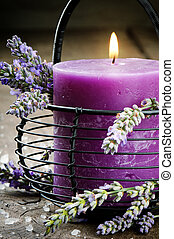 kerze, blumen, lavendel