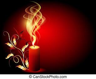 kerze, brennender, rauchwolken