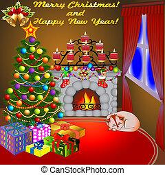 kerzen, baum, katz, geschenke, kaminofen, weihnachten