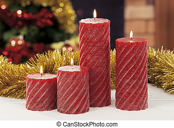 Kerzen,  closeup, Weihnachten, rotes