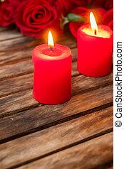 kerzen, frisch, zwei, brennender, rosen